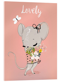 Acrylic glass  Little mouse on pink - Kidz Collection