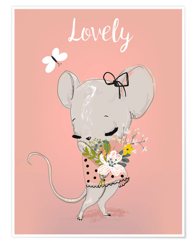 Premium poster Little mouse on pink