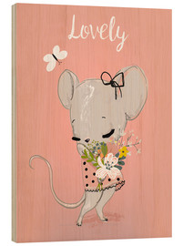 Wood print  Little mouse on pink - Kidz Collection