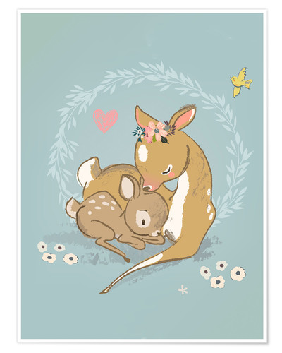 Premium poster Fawn mother and child