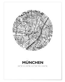 Poster  City map of Munich - 44spaces
