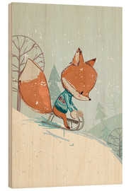 Wood print  Fox with sledge - Kidz Collection