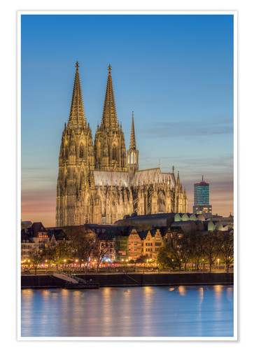 Premium poster The Cologne Cathedral in the evening