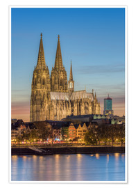 Premium poster  The Cologne Cathedral in the evening - Michael Valjak