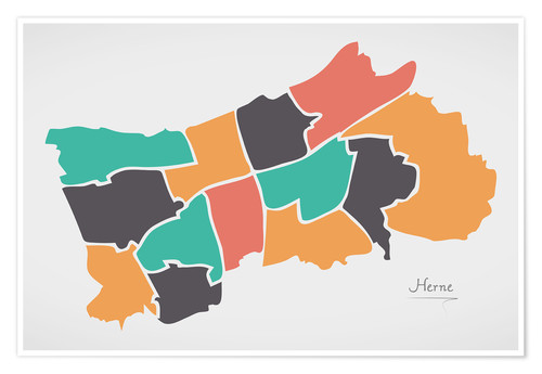 Premium poster Herne city map modern abstract with round shapes