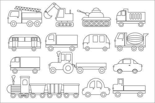 Colouring posters Vehicles / Transport