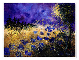 Premium poster  Grain field at night - Pol Ledent