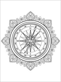 Colouring poster Compass Mandala