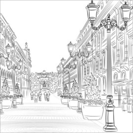 Colouring posters Romantic cityscape