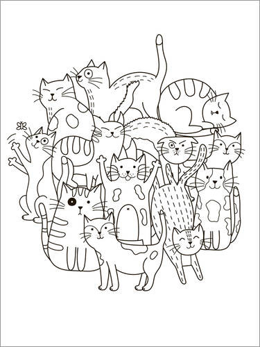 Colouring poster Cat gang