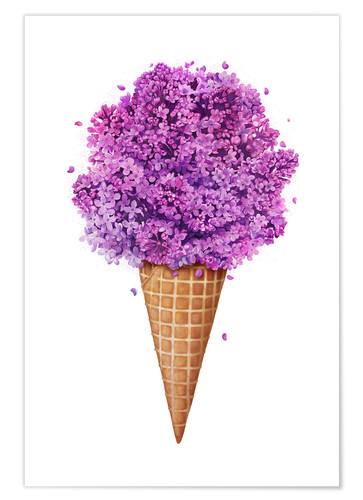 Premium poster Ice cream with lilac
