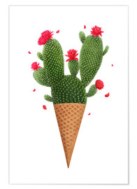 Poster  Ice cream with cactus - Valeriya Korenkova