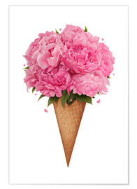 Premium poster  Ice cream with peonies - Valeriya Korenkova