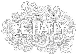 Colouring poster Don't worry, be happy