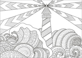 Colouring poster Lighthouse