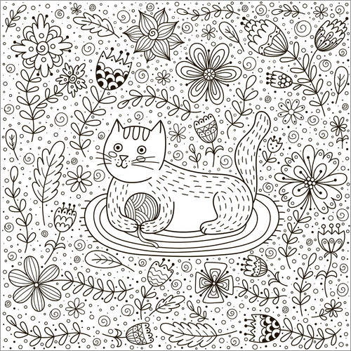 Colouring posters Playful cat