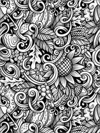Colouring poster Floral pattern