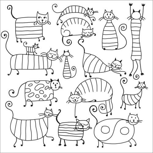 Colouring posters Striped cats