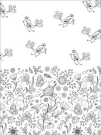 Colouring posters  Birds with flower meadow