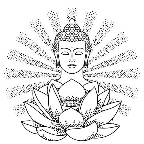 Colouring poster Buddha and Lotus