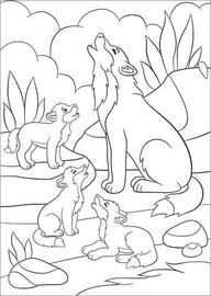 Colouring posters Wolf family