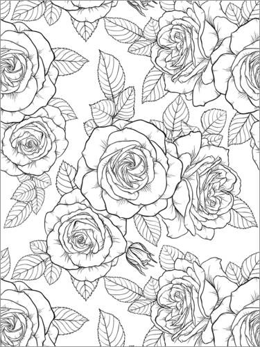 Colouring posters Country house roses