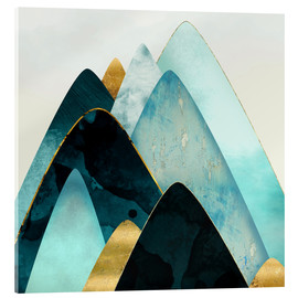 Acrylic print  Gold and Blue Hills - SpaceFrog Designs