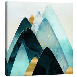 Canvas  Gold and Blue Hills  - SpaceFrog Designs