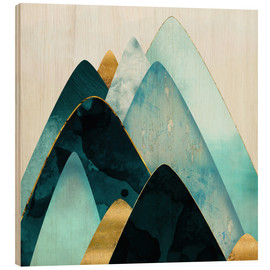 Wood print  Gold and Blue Hills  - SpaceFrog Designs