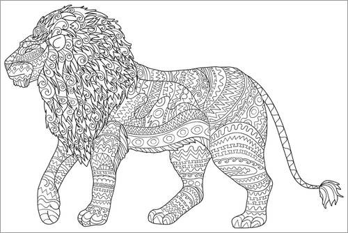 Colouring poster Proud lion