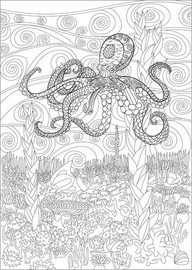 Colouring poster Octopus