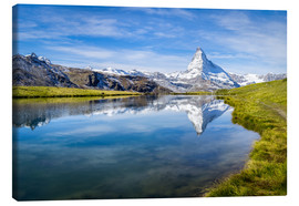 Canvas  Matterhorn and Stellisee in the Swiss Alps, canton of Valais, Switzerland - Jan Christopher Becke