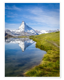 Premium poster Matterhorn and Stellisee in the Swiss Alps, canton of Valais, Switzerland