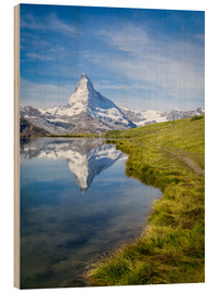 Wood print  Matterhorn and Stellisee in the Swiss Alps, canton of Valais, Switzerland - Jan Christopher Becke