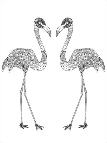 Colouring posters Flamingo couple