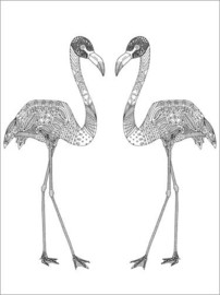 Colouring poster Flamingo couple
