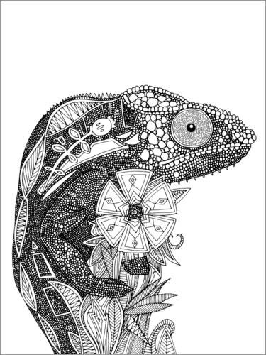 Colouring poster Gorgeous chameleon