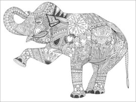 Colouring poster Dancing elephant