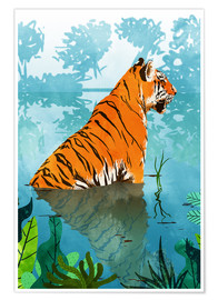 Premium poster Tiger in the creek