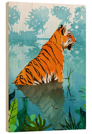 Wood print  Tiger in the creek - Uma 83 Oranges