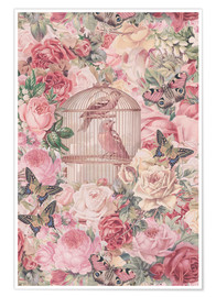 Premium poster Vintage Bird Cage And Roses