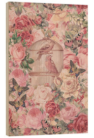 Wood print  Vintage Bird Cage And Roses - Andrea Haase
