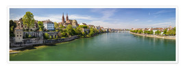 Premium poster Panorama Basel old town on the Rhine (Switzerland)