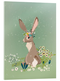 Acrylic print  Rabbit with wildflowers - Kidz Collection