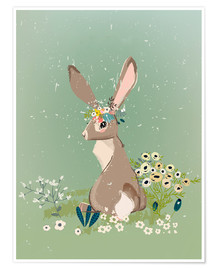 Premium poster  Rabbit with wildflowers - Kidz Collection