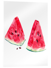 Acrylic print  watercolor slices of watermelon