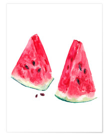 Premium poster  watercolor slices of watermelon
