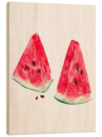 Wood  watercolor slices of watermelon