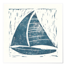 Premium poster Sailing ship linocut on white IV