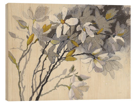 Wood print  Magnolia painting - Shirley Novak